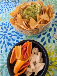 "Homemade Guacamole with Three ""Dippers"" (Chips, Bell Peppers, Chicken Breast)"