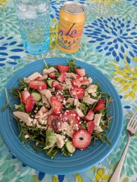 Strawberry Chicken Salad on Mixed Greens