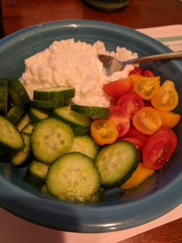 For a lighter night - cucumbers, tomatoes, and cottage cheese