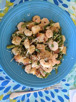 Cauliflower Gnocchi with Shrimp, Asparagus, and Garlic Butter Sauce