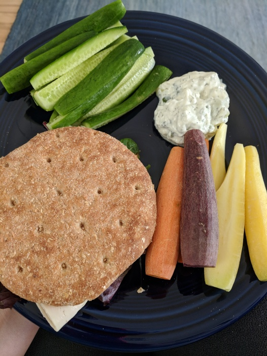 Turkey sandwich with veggies and tzatziki